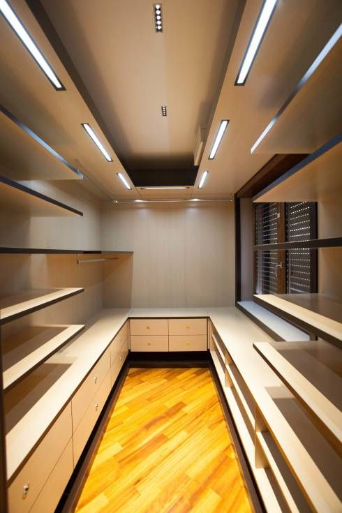 floating shelves in closet