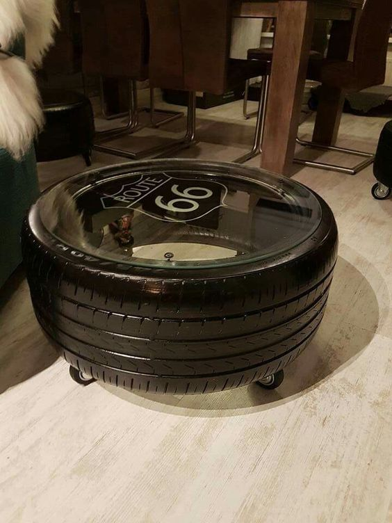 recycled tire center table