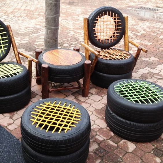 old tire outdoor seat