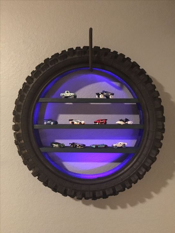 recycled tire shelves