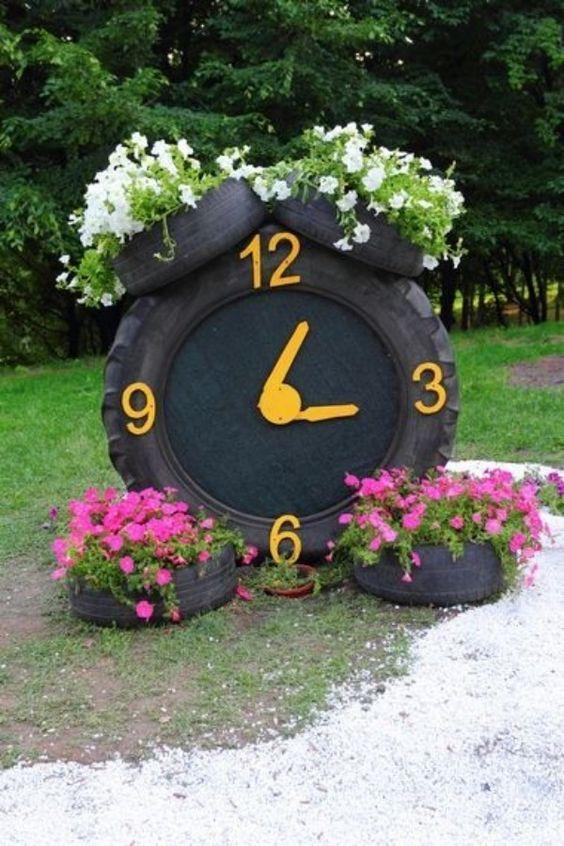 tire garden clock