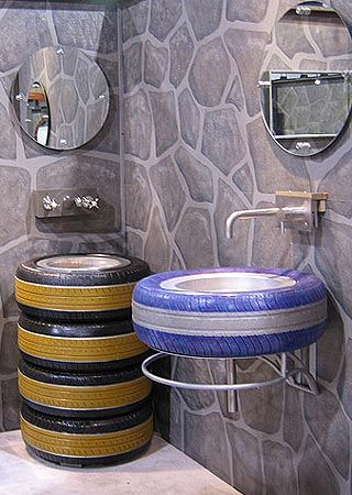 tire bathroom sink