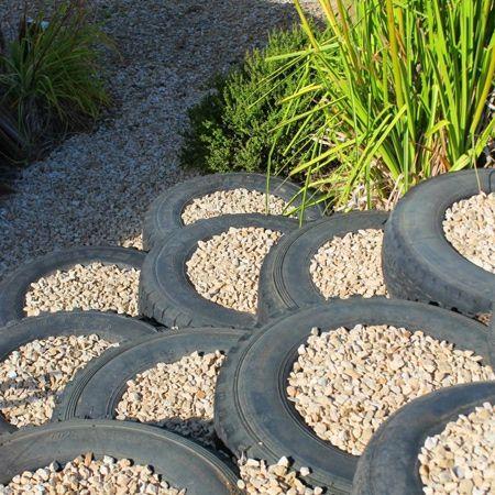 tire garden steps