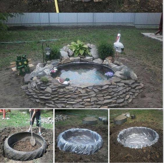 tire garden pond