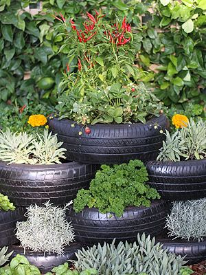 tiered tire planters