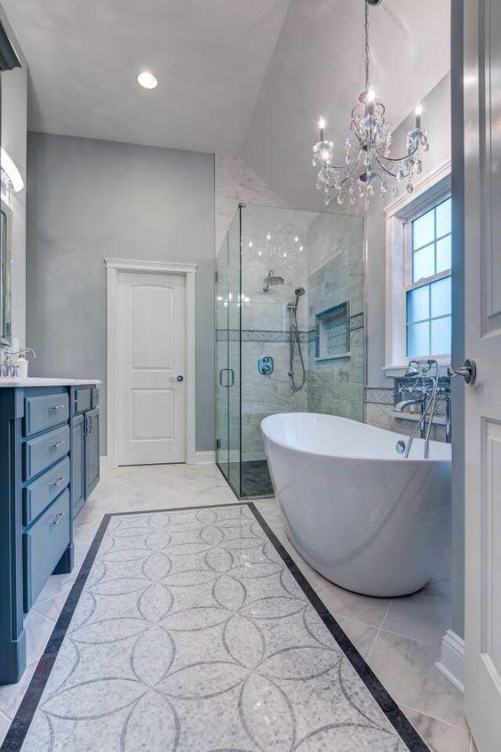 classy blue bathroom