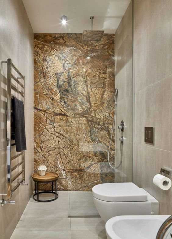marble accent wall bathroom