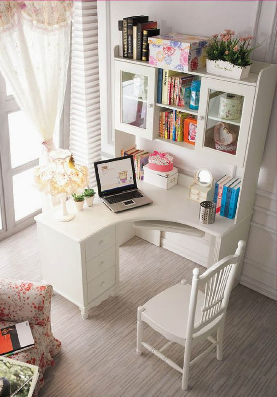 white cottage home office