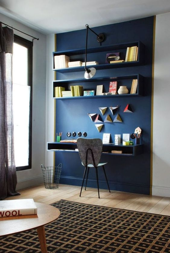 blue home office wall