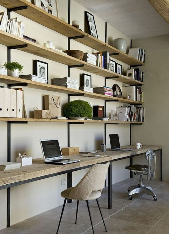industrial home office shelves