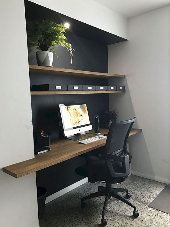 black home office