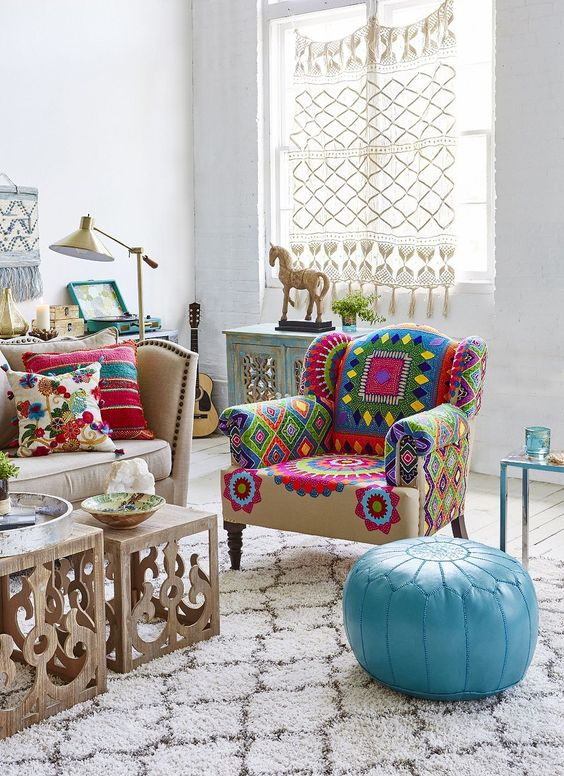 colourful bohemian living room