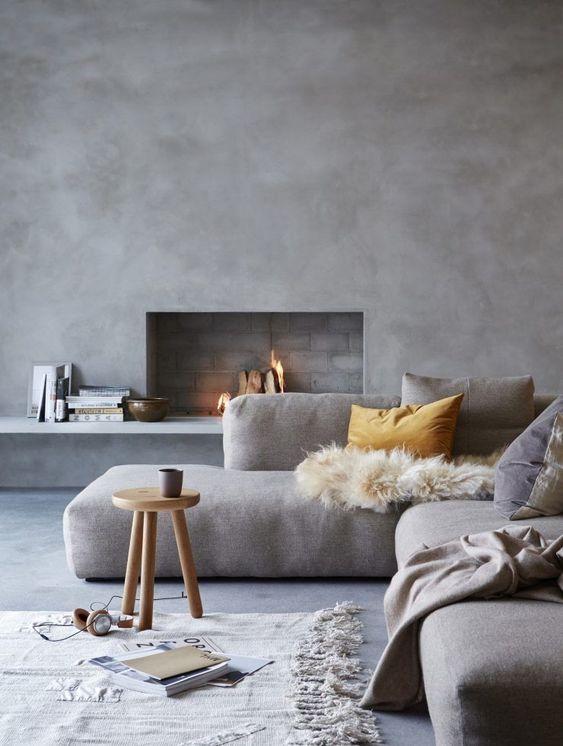 concrete minimalist living room