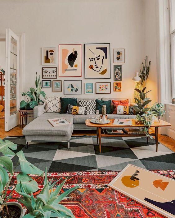 modern maximalist living room