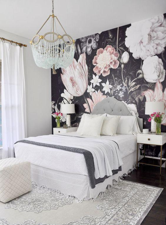 elegant bedroom with wallpaper