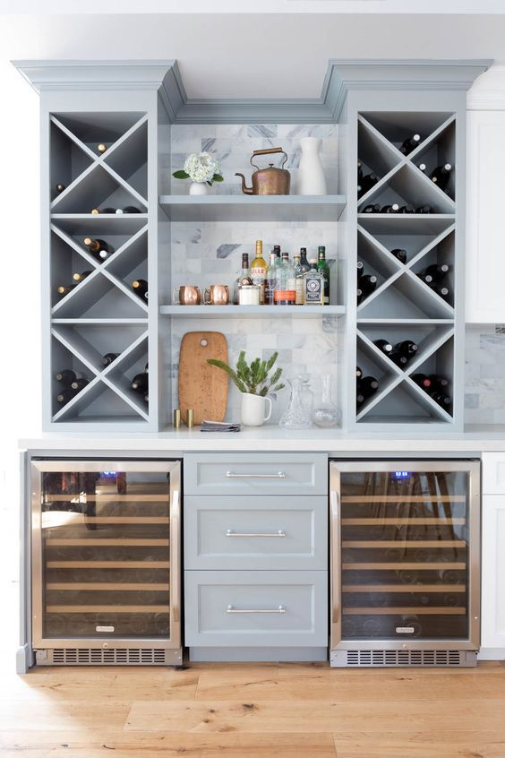 elegant grey home bar