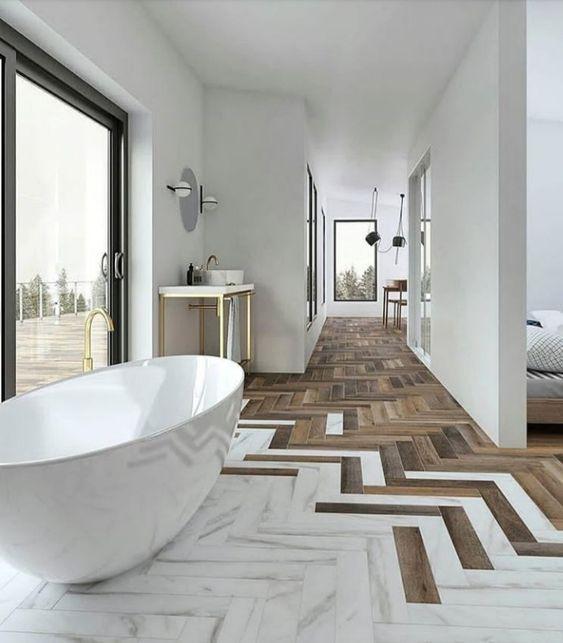 elegant marble and wood bathroom