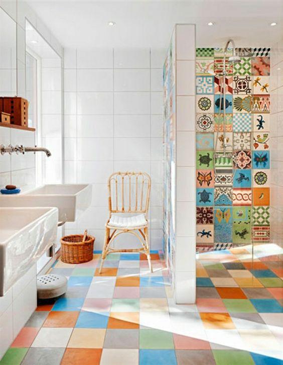 modern colourful bathroom