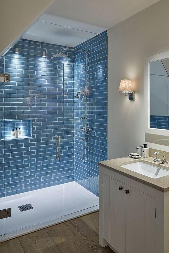 blue subway tiles bathroom