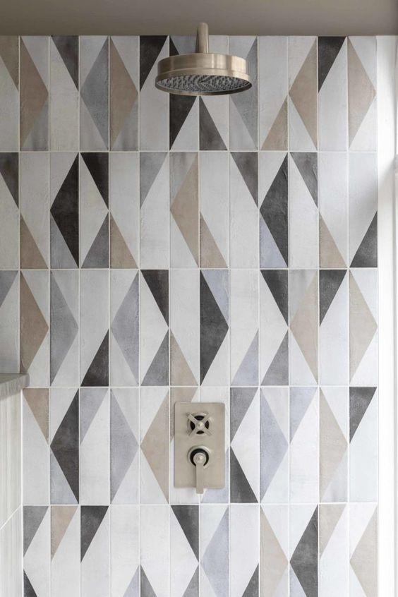 multi-toned bathroom tiles