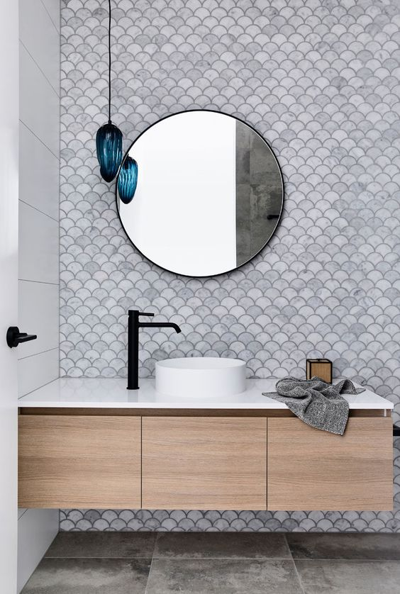 fish scale marble tiles