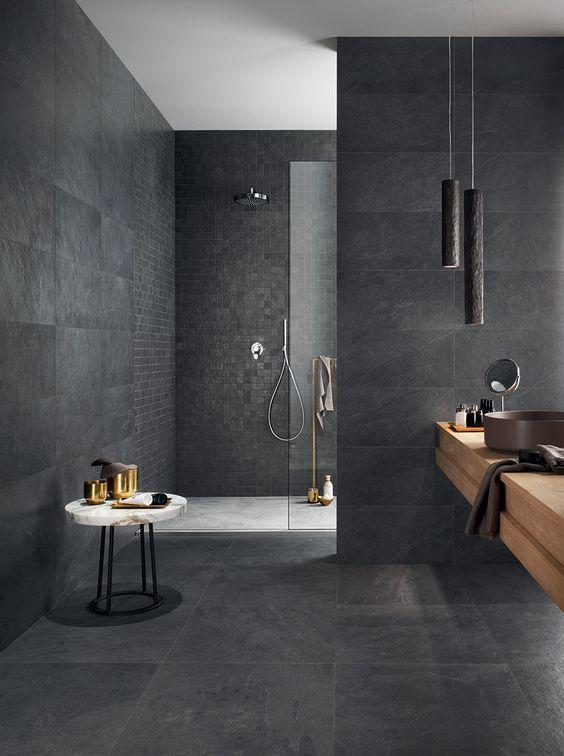 grey slate bathroom walls