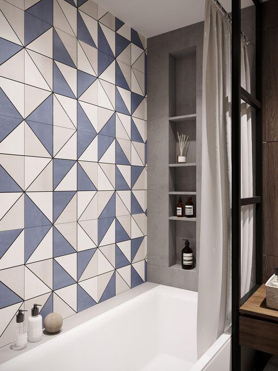 two-toned bathroom tiles