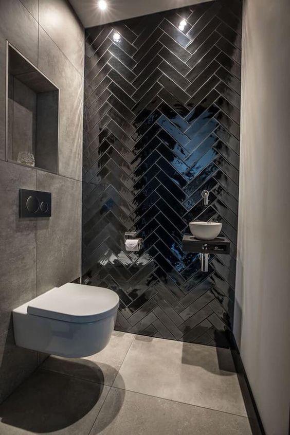 modern glossy black tiles