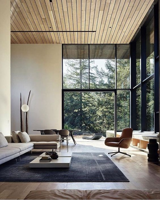 living room with glass wall