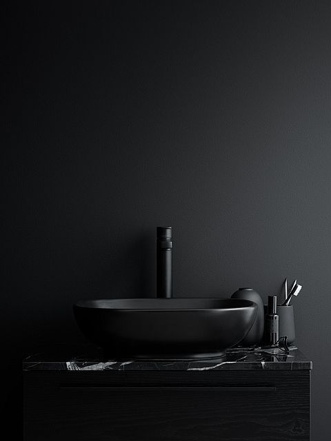 modern black bathroom