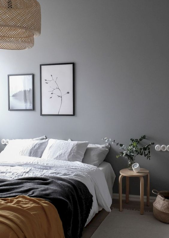 grey minimalist bedroom