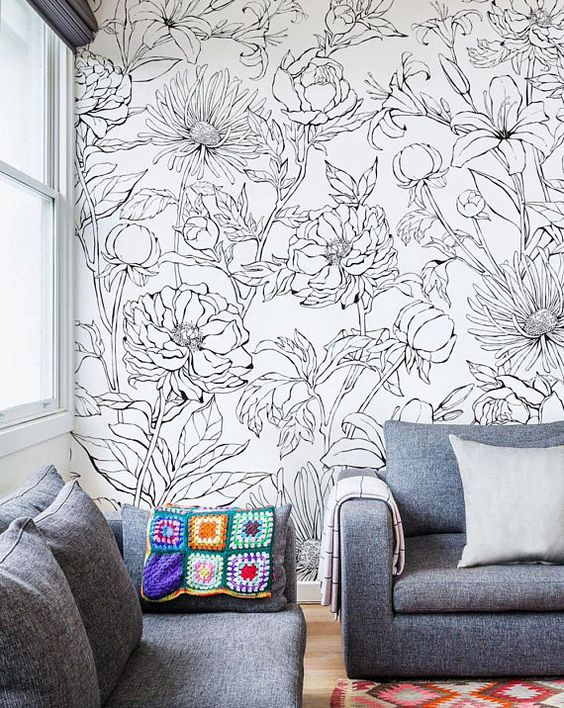 floral doodle wall