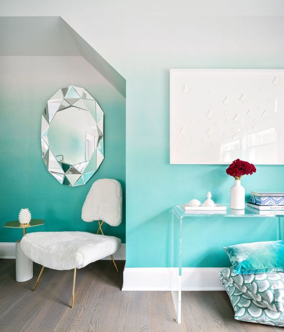 turquoise ombre wall paint