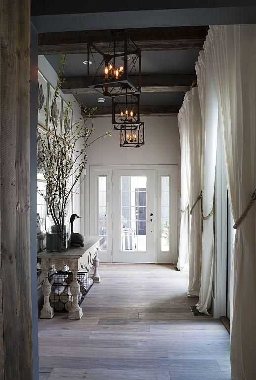 rustic curtained foyer