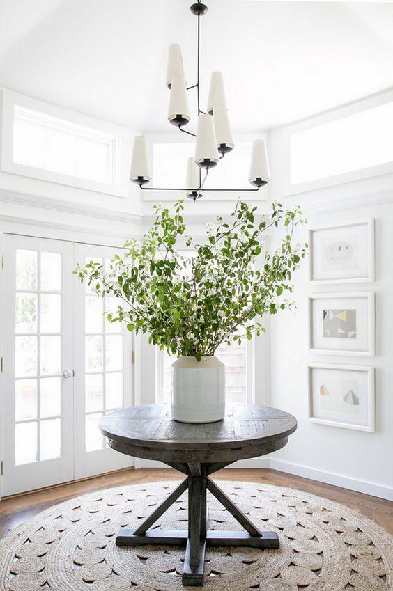 white lakehouse foyer