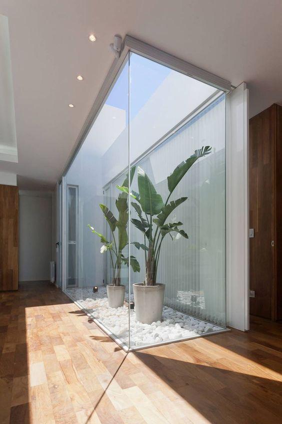 foyer with interior garden