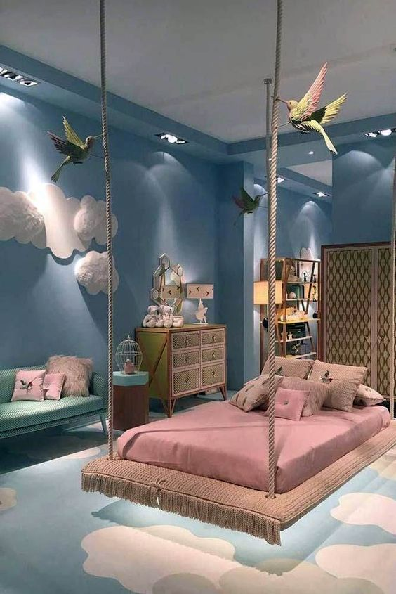 sky themed kids bedroom