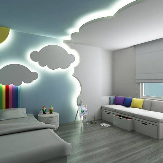 modern cloud themed bedroom