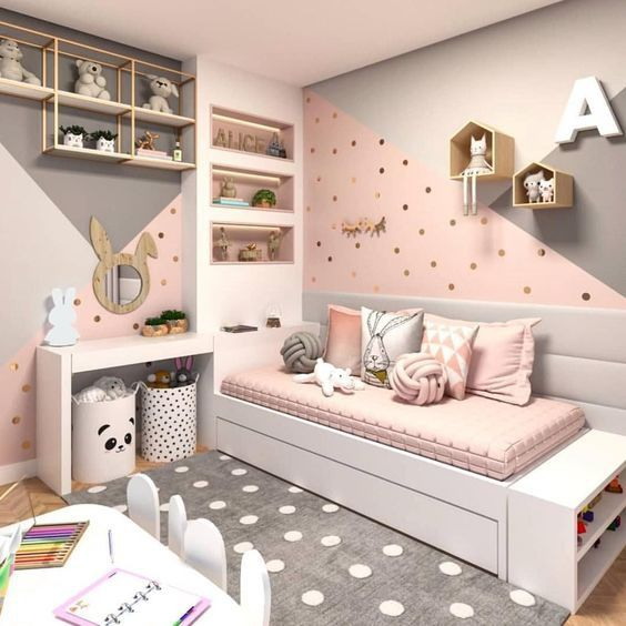 modern pink and grey bedroom