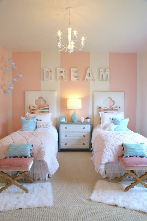 chic twin girls bedroom