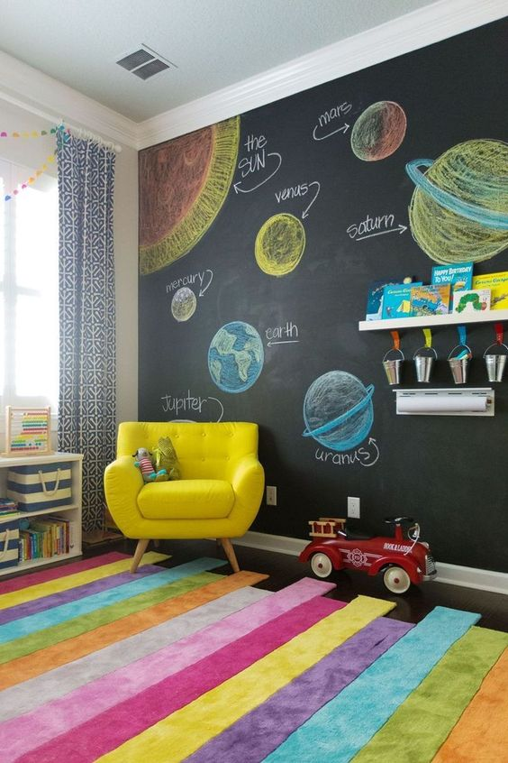 kids bedroom with chalkboard wall