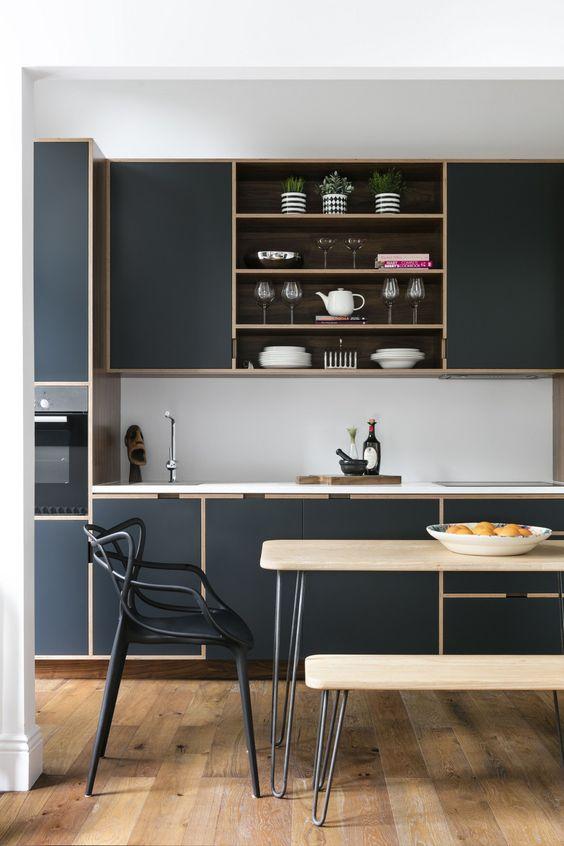 dark modern minimalist kitchen