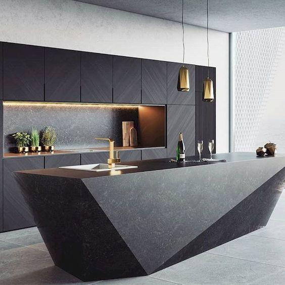 solid black kitchen island