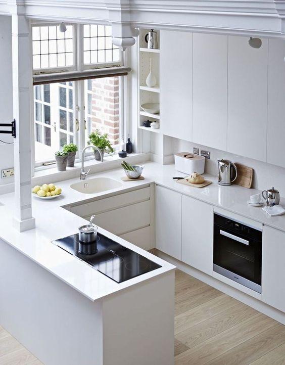 all white apartment kitchen