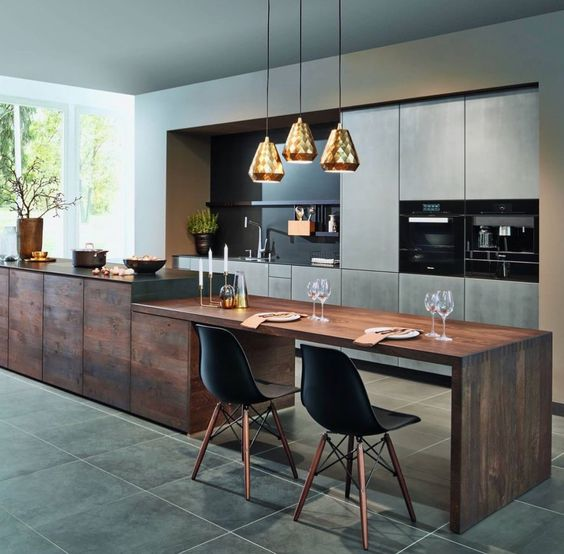 modern kitchen with eat in