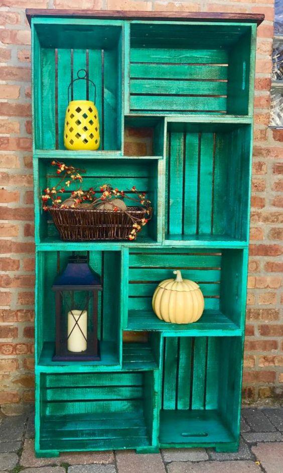 upcycled crate shelf