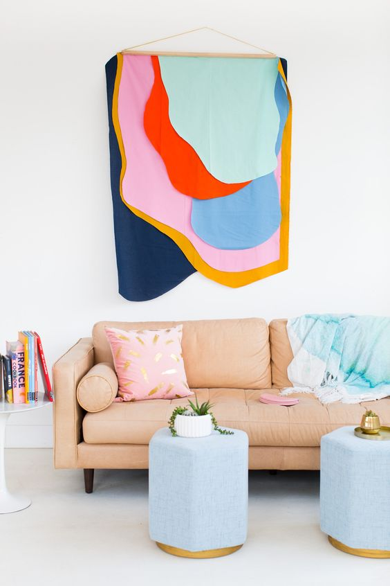 hanging fabric wall feature