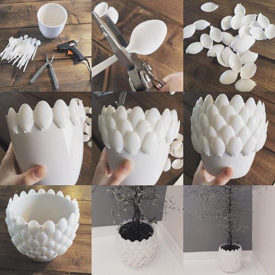 plastic spoon planter