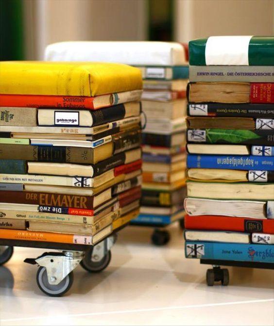 old books stools