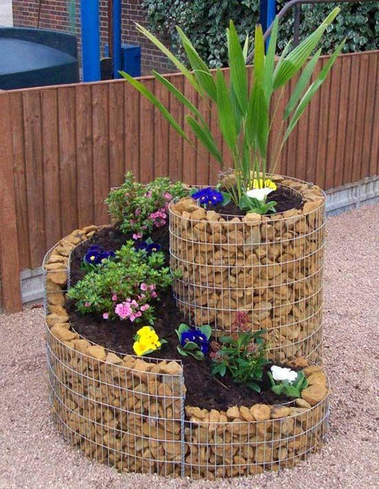 spiral gabion planter